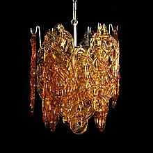 Italian Mazzega Multi-Tiered Chandelier