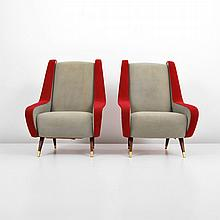 Pair of Italian Lounge Chairs in the Manner of Marco Zanuso