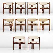 Set of 10 Dining Chairs in the Manner of Carlo Scarpa