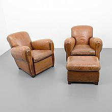 Pair of Leather Club Chairs & Ottoman