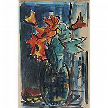 David Hendler - Flower Vase, Watercolor on Paper.
