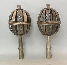 Silver Torah Finials Rimonim, Galicia, Circa 1820.