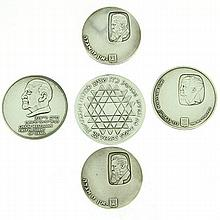 5 Israel Silver Coins.