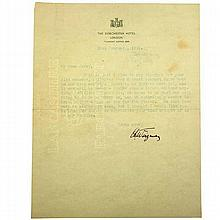 Hand Signed Typed Letter by Chaim Weizmann, 1942