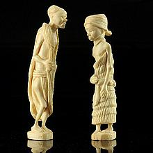 Pair of Carved African Ivory Figures Sculptures.