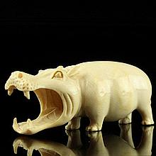 African Carved Ivory Figure of a Hippopotamus.