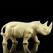 African Carved Ivory Figure of a Rhinoceros.