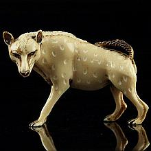 African Carved Ivory Figure of a Hyena.