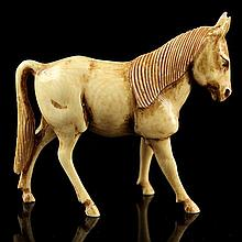 African Carved Ivory Figure of a Horse.