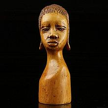African Ivory Carved Bust Figure of a Woman.
