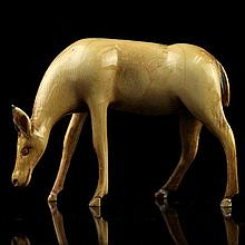 African Carved Ivory Figure of a Deer.
