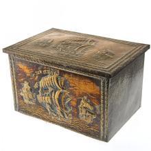 Christopher Columbus Ships Brass Mounted Wood Box.
