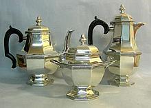 French 950 Silver 3pcs Tea & Coffee Set Paris Ca 1900