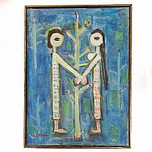 Genia Berger Tree of Life Oil on Canvas Signed Painting