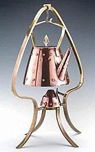 WMF Arts & Crafts Copper & Brass Tea Kettle & Burner