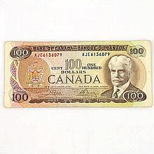 1975 Canadian 100 Dollar Note, Bank of Canada Ottawa