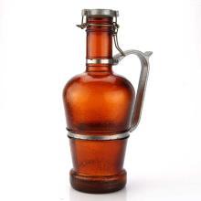 Vintage Large German Brown Glass Beer Jug Bottle.
