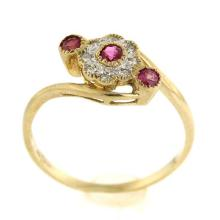 9k Yellow Gold Diamond and Ruby Ring.