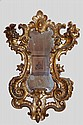GOLD-PLATED WOODEN MIRROR, WITH SCROLLS AND