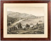 Lithograph view of Avalon Harbor, Santa Catalina Island, California