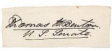Clipped signature of longtime U.S. Senator Thomas Hart Benton (1782-1858)