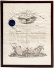 Partially engraved military appointment on vellum, completed in manuscript, appointing Clayton McMichael as Captain in the Ninth Regiment of Infantry, effective March 4th, 1864