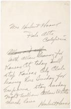 Autograph Letter Signed by Herbert Hoover, to his wife