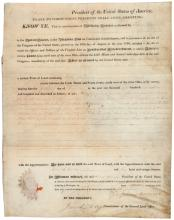 President Monroe grants land in the Northwest Territory for military service of a Virginia officer in the Revolutionary War who sold his land bounty to speculators who then sold it to the surveyor