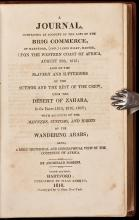 A Journal, Comprising an Account of the Loss of the Brig Commerce, of Hartford, (Con.) James Riley, Master, Upon the Western Coast of Africa, August 26th, 1815; Also of the Slavery and Sufferings of the Author and the Rest of the Crew, Upon the