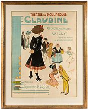 Theatre du Moulin-Rouge. Claudine - poster for the production