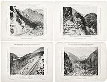 Four Railroad Advertising Cards, circa 1898. Yukon and Atlin Gold Rush
