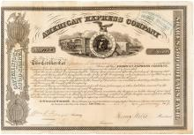 American Express Company stock certificate, signed by William Fargo, Henry Wells, and Alexander Holland