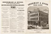 Sheet Music for the Sherman & Hyde Grand March, with a large engraved depiction of the music store in San Francisco of that name on the first page