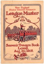 Official souvenir and score card, eighteenth annual league muster, held at Lowell, Mass., August 20th, 1908