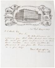 Autograph Letter Signed - 1849 Lincoln era inventor with Colt, Smith, Wesson and Winchester gun associations