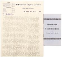 A Typed Letter Signed from the Independent Telephone Association and their Constitution booklet in wrappers