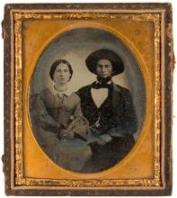 Ambrotype portrait of a seated couple