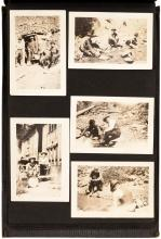 Album with approximately 68 snapshot photographs of the Pittville, California area, including mining and lumbering activities