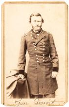 Carte-de-visite photograph of General Ulysses S. Grant, standing in uniform, visible from the knees up