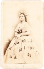 Carte-de-visite photograph of Mary Todd Lincoln in billowing dress, flowers in her hair