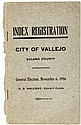 Index Registration, City of Vallejo Solano County. General Election, November 6, 1906