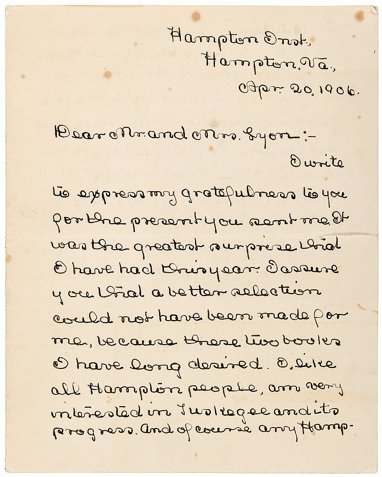 Autograph Letter Signed - Madame C.J.Walker's Legal Counsel as Hampton Institute student