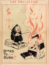 Books to Burn! - color lithograph poster for