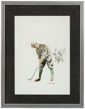 Original watercolor of a golfer, signed