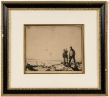Original etching with drypoint, signed - golfer and his caddy, in the rough