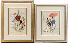 Two framed artworks by Edmund Blampied, signed