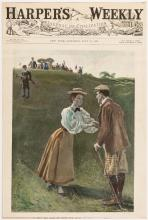 Three color golf illustrations from the pages of Harper's Weekly