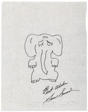 Drawing of an elephant by Sam Snead, signed