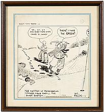 Room and Board - original ink cartoon panel of golfers