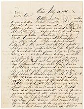 Three Autograph Letters Signed, from George Arms, a traveling daguerreotypist in upstate New York, to his cousin Christopher Tilden
